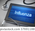 influenza word displayed on tablet 37691188