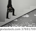 businessman walking on stairs with city scene doodles 37691709