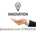 innovation word holding by realistic hand 37692016