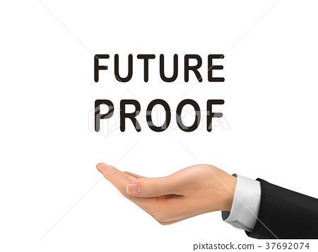 future proof words holding by realistic hand 37692074