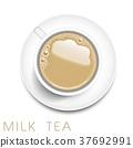 top view of realistic milk tea 37692991