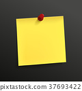yellow note paper with pin 37693422