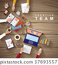working place of creative team in flat design 37693557