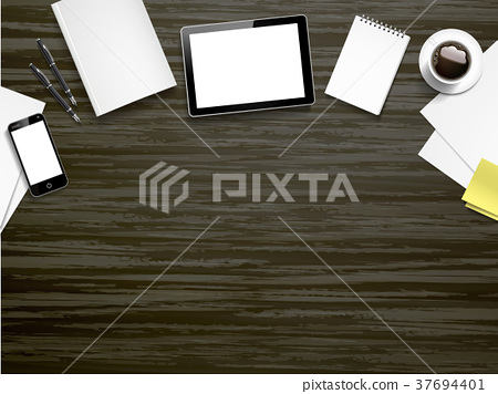 working place elements on wooden table 37694401