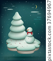 Christmas scene with snowman 37694967