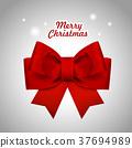 close-up look at Christmas red ribbon 37694989