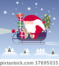 lovely Santa Claus riding on sleigh 37695035