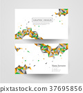 geometric colorful triangles design for business card 37695856