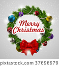 colorful Christmas wreath 37696979