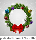 colorful Christmas wreath 37697107