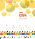 watercolor style education infographic with colorful pencils 37697313