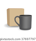 blank black cup and package 37697797