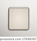open checked brown notebook over white 37698387