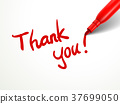 red pen writing thank you over document 37699050