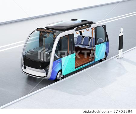 自动公共汽车的图像。可以在通用平台上以多种模型开发的概念 37701294