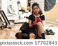 Female boxer wnjoying music 37702843