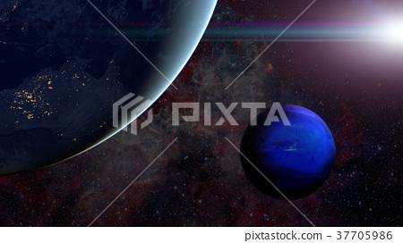 Solar System - Neptune. Science background. 37705986