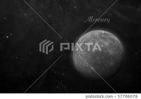Planet Mercury. Space background. 37706078
