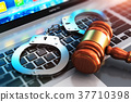 handcuffs, laptop, mallet 37710398