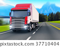 Semi-truck on a highway or autobahn 37710404