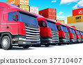 Row of cargo trucks at the sea port 37710407