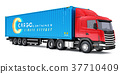 Semi-truck with 40 ft heavy cargo container 37710409