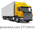 Semi-truck with 40 ft heavy cargo container 37710415