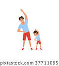 Dad and son doing morning exercises. Family sport 37711095