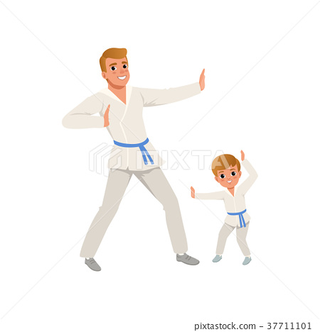 Smiling father and son training karate blows. Dad 37711101