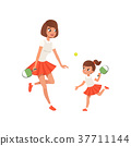 Cheerful mom and her daughter playing ping pong 37711144