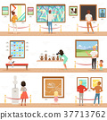 Cartoon characters people visitors in art museum 37713762