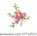 ดอกไม้,ใบไม้,สีน้ำ 37714524
