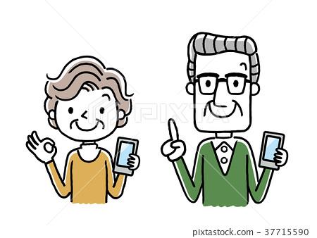 Senior couple: smartphone 37715590