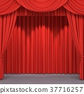 Red stage curtains 37716257