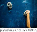 sport woman hanging extreme sport climbing wall 37716915