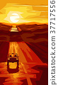 Vertical illustration road with car at sunset. 37717556