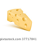 Cheese 3D realistic vector icon of trinagle piece 37717841
