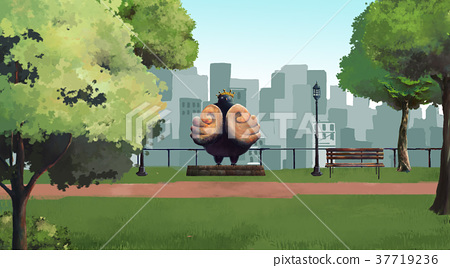 Big bird statue in green park and city background 37719236