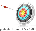 Archery target with one arrow in the center 3D 37722500