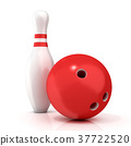 Bowling Ball and pin with red stripes 3D 37722520