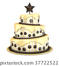 Cake with vanilla and chocolate cream 3D 37722522