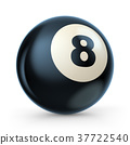 Black pool game ball with number 8. 3D 37722540