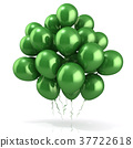 Green balloons crowd 3D 37722618