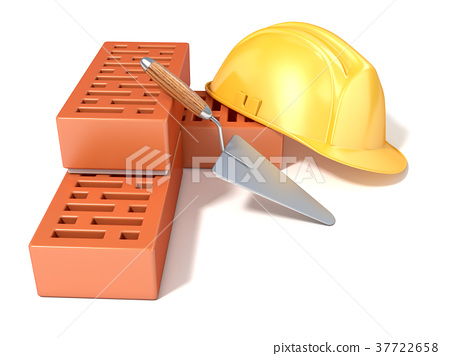 Safety helmet, perforated bricks and trowel 3D 37722658