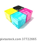 CMYK cubes sign, like symbol of printing. 3D 37722665