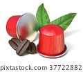 Red coffee capsules, coffee beans and leaves 3D 37722882