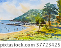 Seascape painting colorful of mountain and beach. 37723425