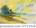 Seascape painting of beach and emotion in sunset 37723426