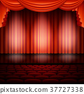 Spotlight on stage and red curtain. EPS 10 vector 37727338
