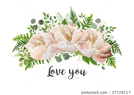 Peach peony Flower Bouquet vector design element 37728517